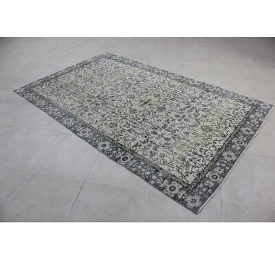 Vintage Hand-Knotted Gray/Beige Area Rug