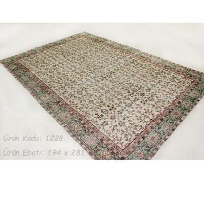 Vintage Hand-Knotted Ivory/Green Area Rug