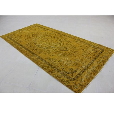 Vintage Hand-Knotted Gold Area Rug
