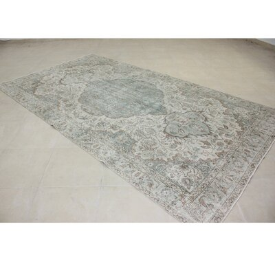 Vintage Hand-Knotted Green/Gray Area Rug
