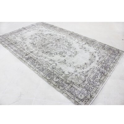 Vintage Hand-Knotted Ivory Area Rug