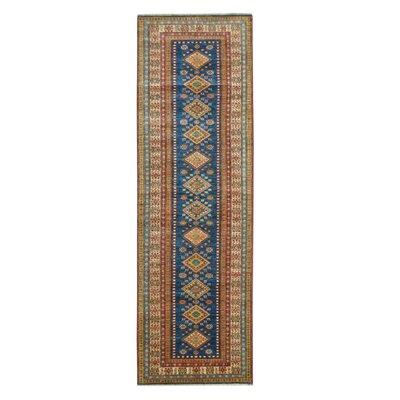 Kazak Hand-Knotted Blue/Beige Area Rug