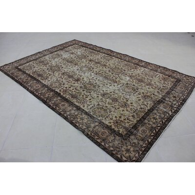 Vintage Hand-Knotted Brown/Beige Area Rug