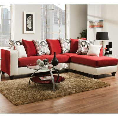 Borrero Sectional Upholstery: Red/White
