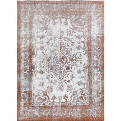 Vintage Hand-Knotted White/Orange Area Rug