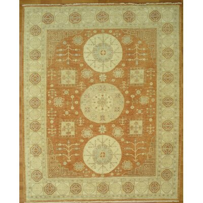 Hand-Knotted Gold/Beige Area Rug