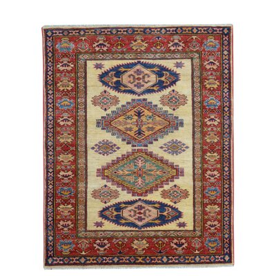 Kazak Hand-Knotted Red/Blue Area Rug