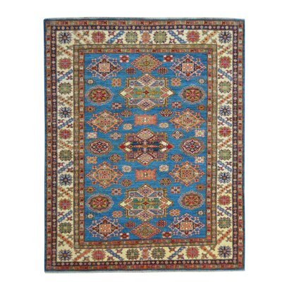 Kazak Hand-Knotted Blue Area Rug