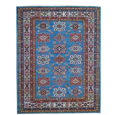 Kazak Hand-Knotted Blue Area Rug