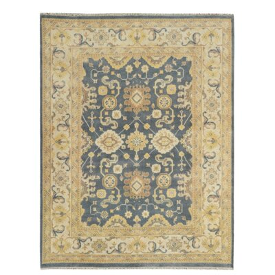Hand-Knotted Beige/Blue Area Rug