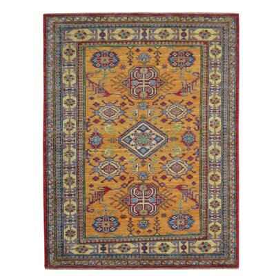 Kazak Hand-Knotted Gold/Blue Area Rug