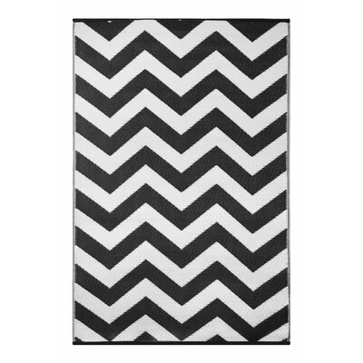 Lightweight Reversible Psychedelia Black/White Indoor/Outdoor Area Rug Rug Size: 3 x 5
