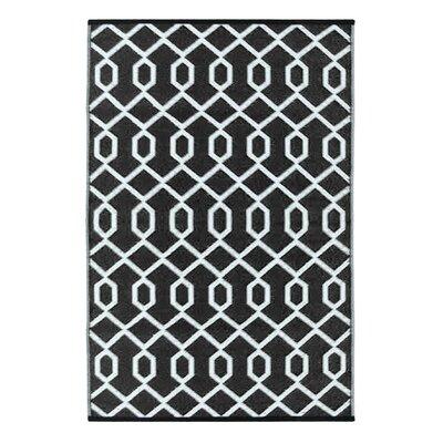 Lightweight Reversible Black/White Indoor/Outdoor Area Rug