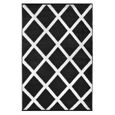 Lightweight Reversible Black/White Indoor/Outdoor Area Rug Rug Size: 3 x 5
