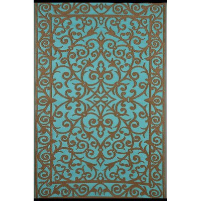 Lightweight Reversible Blue Turquoise/Gold Indoor/Outdoor Area Rug