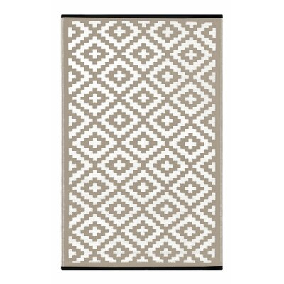 Lightweight Reversible Taupe/White Indoor/Outdoor Area Rug Rug Size: 3 x 5