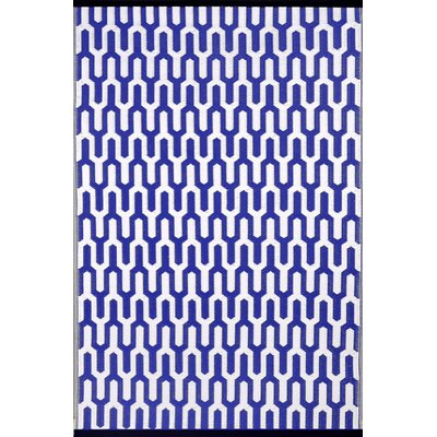 Lightweight Reversible Royal Blue/White Indoor/Outdoor Area Rug