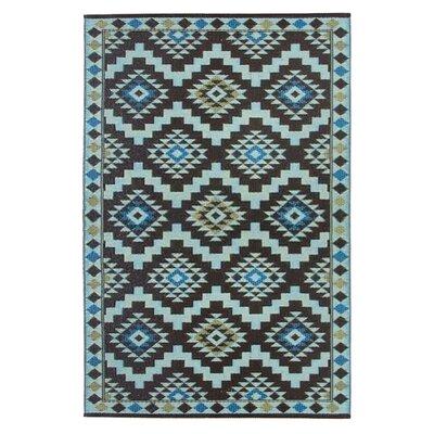 Lightweight Reversible Coffee Brown/Light Yellow Indoor/Outdoor Area Rug