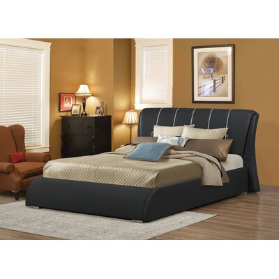 Courtney Upholstered Panel Bed Size: Queen, Color: Black