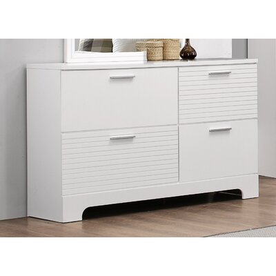 Moderno 4 Drawer Standard Dresser Color: White