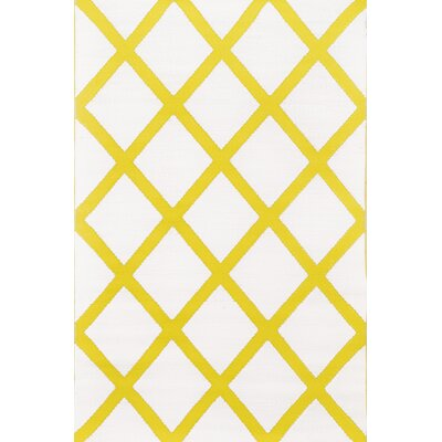 Lightweight Reversible Mimosa/Cream Indoor/Outdoor Area Rug Rug Size: 3 x 5