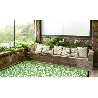 Lightweight Reversible Gala Herbal Garden/Ivory Indoor/Outdoor Area Rug Rug Size: 5 x 8
