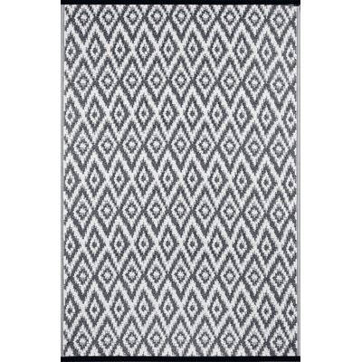 Lightweight Reversible Charcoal Gray/White Indoor/Outdoor Area Rug