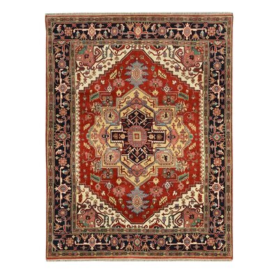Hand-Knotted Red/Black Area Rug Rug Size: 6 x 9