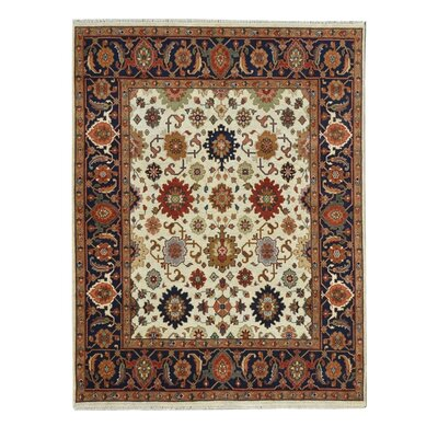 Hand-Knotted Red/Ivory Area Rug Rug Size: 9 x 12