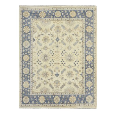 Hand-Knotted Yellow/Blue Area Rug Rug Size: 9 x 12