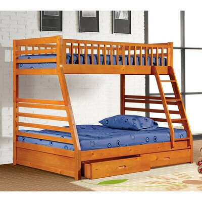 Izaiah Twin over Full Bunk Bed with Storage Finish: Oak