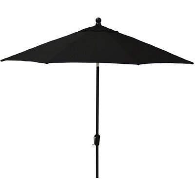 9 Market Umbrella Fabric: Spectrum Sand, Frame Finish: Woodgrain