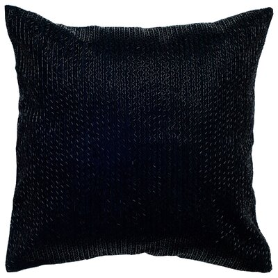Sequin Embroidered Cotton Throw Pillow Color: Black