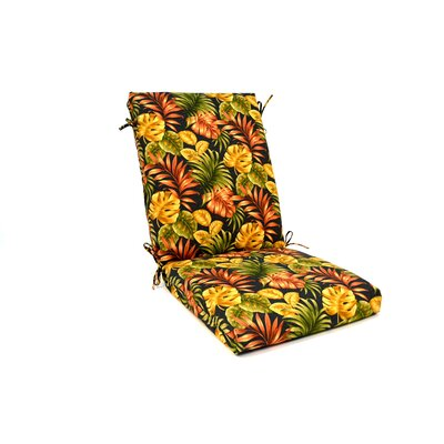 Tropical Floral High Back Outdoor Lounge Chair Cushion
