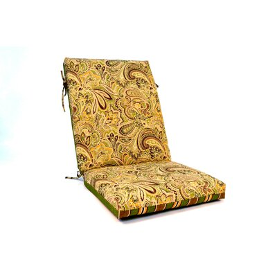 2 Sided Paisley High Back Outdoor Lounge Chair Cushion