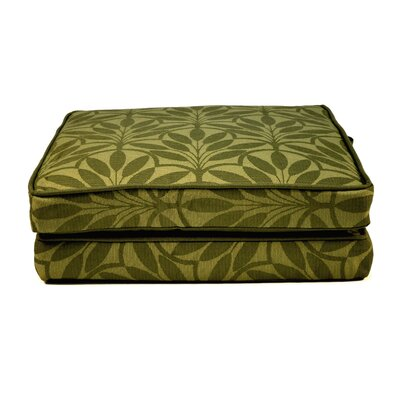 Boxed and Welted Floral Outdoor Dining Chair Cushion