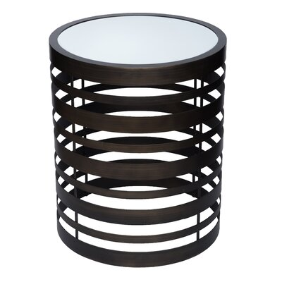 Levi Banded Mirrored End Table Color: Oil Rubbed Bronze
