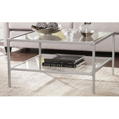 Myron Square Metal/Glass Open Shelf Coffee Table Finish: Silver
