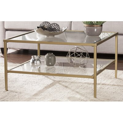 Myron Square Metal/Glass Open Shelf Coffee Table Finish: Gold