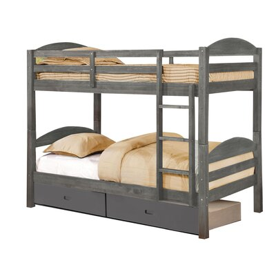 Ralph Twin Bunk Bed with Drawers Finish: Rustic Gray