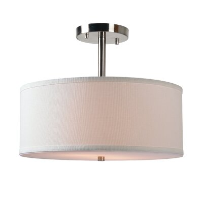 Shelley 2-Light Semi Flush Mount Finish: Brushed Steel, Shade Color: White