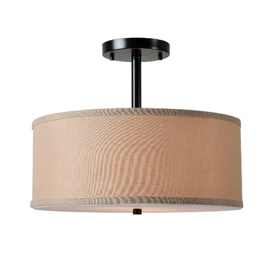 Roulston 2-Light Semi Flush Mount Shade Color: Beige, Finish: Oil Rubbed Bronze
