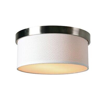 Roulston 2-Light Flush Mount Finish: Brushed Steel, Shade Color: White
