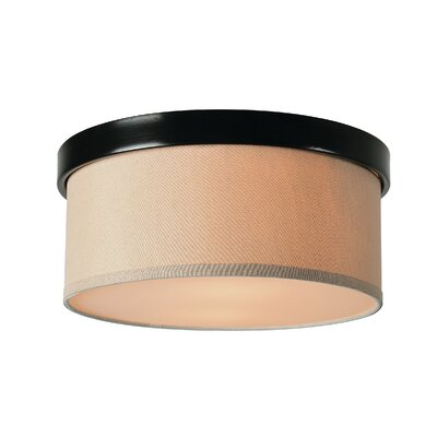 Roulston 2-Light Flush Mount Shade Color: Beige, Finish: Oil Rubbed Bronze