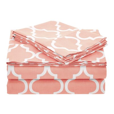 Guilderland 300 Thread Count 100% Cotton Sheet Set Size: Full, Color: Coral