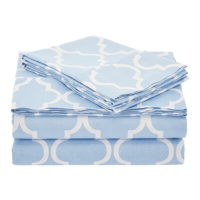 Guilderland 300 Thread Count 100% Cotton Sheet Set Color: Light Blue, Size: Queen
