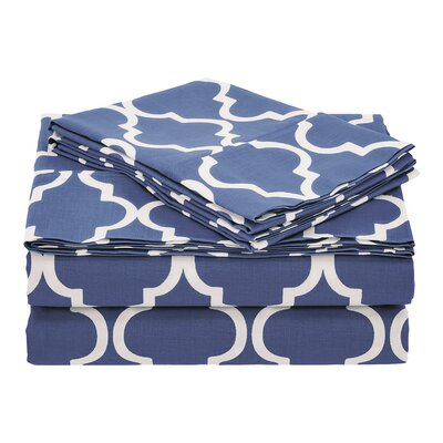 Guilderland 300 Thread Count 100% Cotton Sheet Set Size: Full, Color: Navy Blue