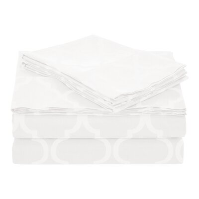 Guilderland 300 Thread Count 100% Cotton Sheet Set Color: Alabaster White, Size: Twin XL