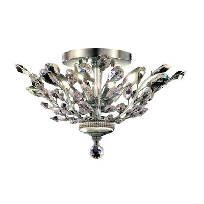 Orchid 4-Light Semi Flush Mount Finish: Chrome, Crystal Grade: Elegant Cut