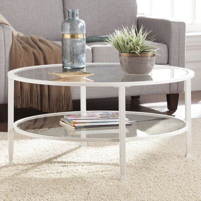Casas Metal and Glass Round Coffee Table Color: White